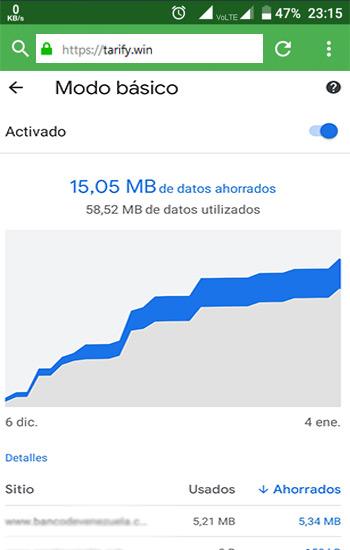 Activa el ahorro de datos del navegador
