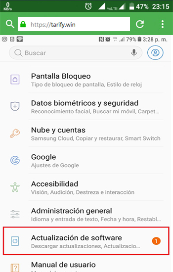 Actualizar Android o iOS