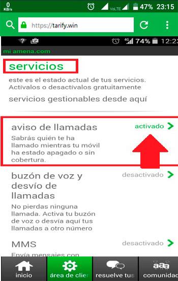 ¿Cómo funciona el servicio de llamadas perdidas en la mayoría de operadores móviles?