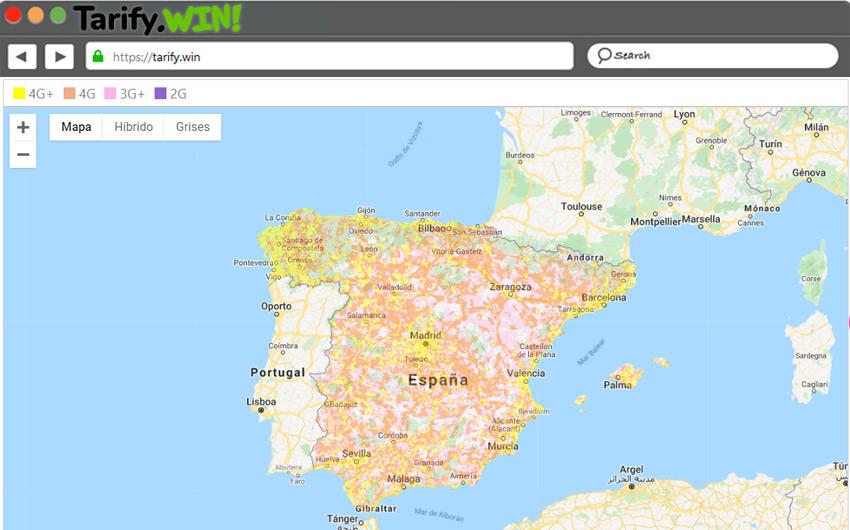 Mapa de cobertura de Internet Móvil 4G en España de Orange