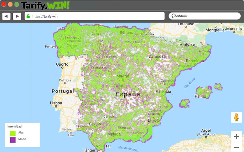 Mapa de cobertura de Móvil 4G en España de Movistar