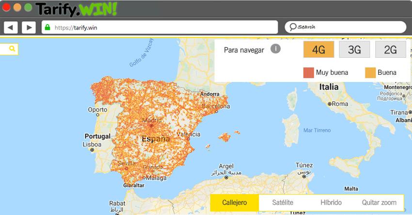 Mapa de cobertura móvil 4G de MásMóvil (Yoigo)