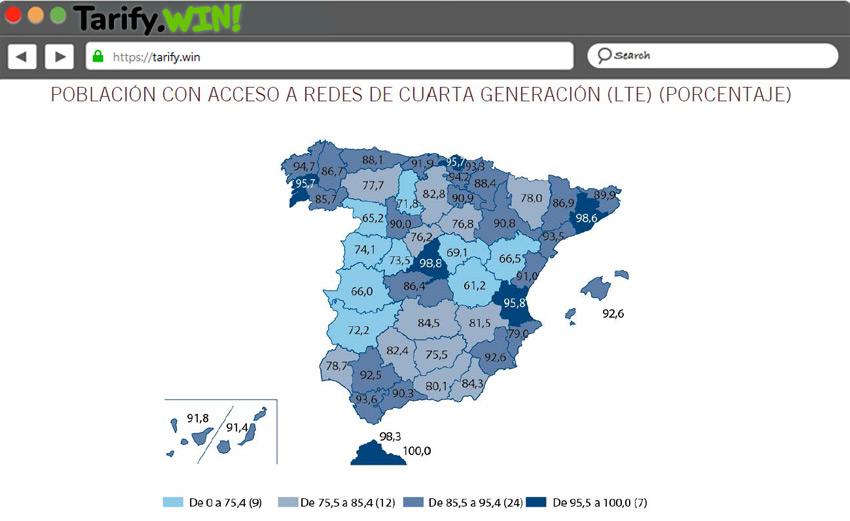 cobertura de las redes móviles LTE en España